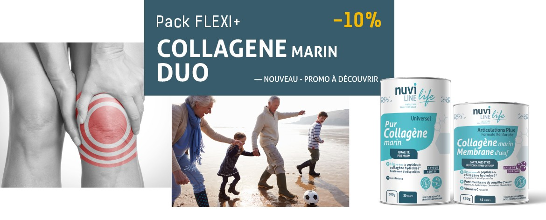 Pack Duo Flexi+ collagène marin membrane d'oeuf articulations renforcé nuviline